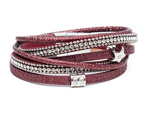 Kandharis Wickelarmband Armband mit Strass Stern Anhänger Charm Kugelkette Magnetverschluss Damen D55 2- Dunkelrot