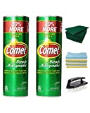 Comet Cleanser Kitchen and Bathroom Kit (Includes Two 21 Oz Canisters Comet Cleanser Powder with Bleach, Microfiber Towel Cloths, Scouring Pads & Scrub Brush) Complete Household Cleaning Set