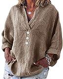 Yidarton Blusa de mujer de manga larga, informal, cuello en V, suelta, algodón, tallas grandes, camisa de lino Color: 1 M