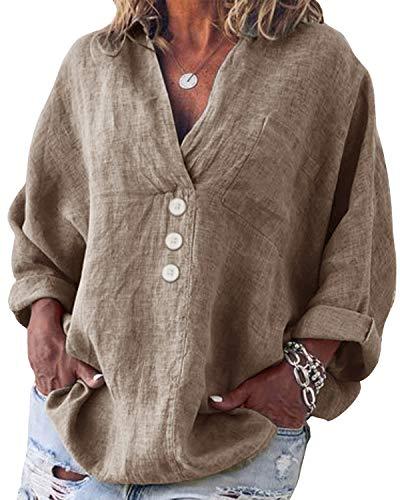 Yidarton Bluse Damen Langarm Oberteil Casual V-Ausschnitt Tops Tunika Lose Baumwolle Große Größen Hemd Leinenbluse (Grau, 5XL=(EU 48-50))