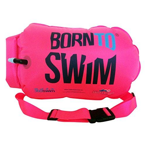 BornToSwim unisex vuxen säkrare simmare torkväska och simbåge (robust) boj och packpåse för öppet vatten simmare och triatleter, rosa, 64 x 30 x 0,05 cm