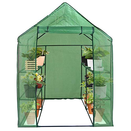 HomGarden Portable Mini Walk-in Greenhouse Kit 3 Tiers 6 Shelves for Lawn Patio Garden Plant Shelf Green House Tent w/PE Cover and Roll-Up Zipper Door, 57' L x 57' W x 77' H