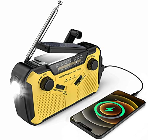 weather radio for kids NOSSER Emergency Weather Radio, 2500mAh-Solar Hand Crank Portable Radio AM/FM/NOAA Weather Alert Portable Radio with SOS Alarm, Flashlight, Reading Lamp and Cellphone Charger