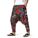 GenericBrands Taurner Hombres Pantalones Harem Estampados Pantalón de Algodón Cintura Elástica Pata Ancha Baggy Pants