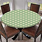 """Elastic Edged Polyester Fitted Table Cover,Spring Meadow Wildflower on Green Background Field Yard Bedding Plants,Fits up 40""""-44"""" Diameter Tables,The Ultimate Protection for Your Table,Pale Green Crea"""