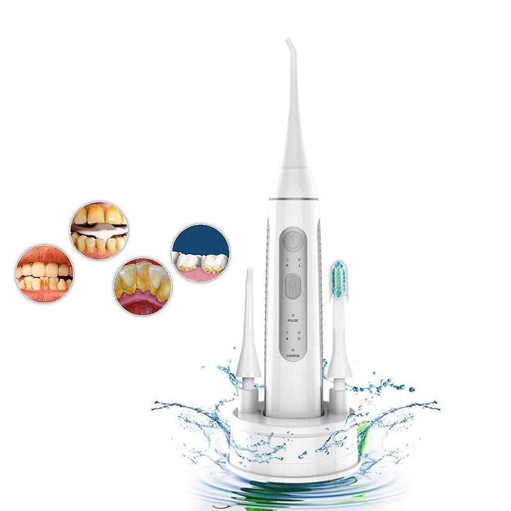 不潔事実上立ち寄る超音波電動歯サーファー、2 in 1口腔ケア歯磨き粉機器ホームポータブルウォーターフロス歯のクリーニング機3モード大人と子供に適して,Gray