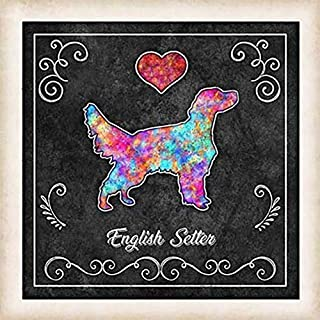 English Setter Dog Chalk Art Mounted Print by Dan Morris
