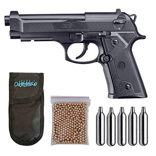 Outletdelocio. Umarex U58090. Pistola perdigon Beretta Elite ll Gas Co2. 4,5mm. + Funda Portabombonas + Balines + Bombonas co2. 23054/29318/13275