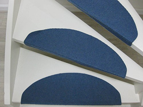Teppichwahl Stufenmatten Lilongwe 65 x 25 cm Blau,anthrazit und beige (anthrazit)