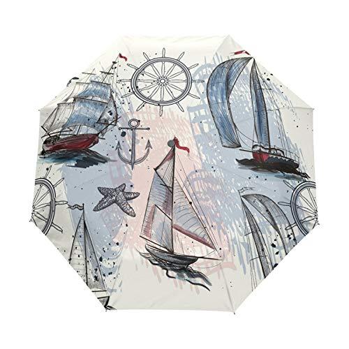Kleiner Regenschirm Winddicht im Freien Regen Sonne UV Auto Compact 3-Fach Regenschirm Abdeckung - Navigation