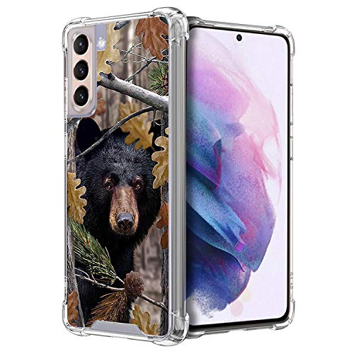 CasesonDeck Bear Case Compatible with [Samsung Galaxy S21 / S21 5G (2021) Case] Hunters Series Max Clarity Bumper, Hard Back Plate Soft TPU Edges for Max Protection (Bear Tree Camo)