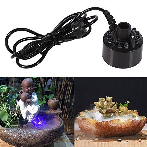 Yinuoday Brunnennebelmacher 12 LED Farbwechselbefeuchter Ultraschallnebelmacher Nebelmacher Wasserteich Zerstäuber Luftbefeuchter