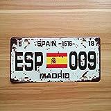 Letrero de Chapa Madrid, España Bandera De ESPA?a Placa de matrícula 15,2 x 30,5 cm