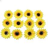 Buorsa 12 Pack Girls Sweet Hawaiian Emulation Sunflower Duckbill Clip Flower Hairpin Hair Clip Flower Pin Flower Brooch