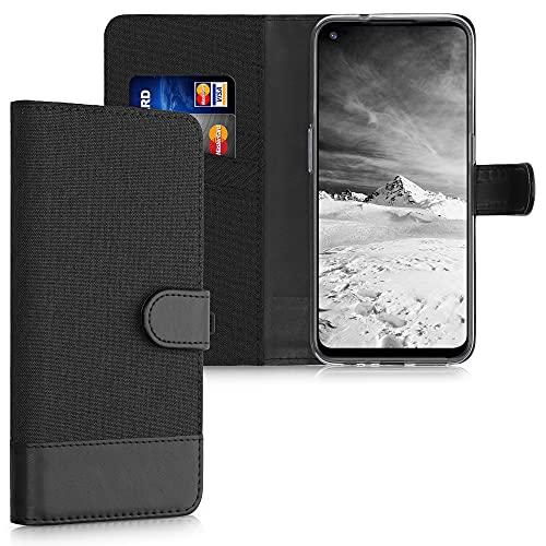 kwmobile Wallet Hülle kompatibel mit OnePlus Nord N100 - Hülle mit Ständer - Handyhülle Kartenfächer Anthrazit Schwarz