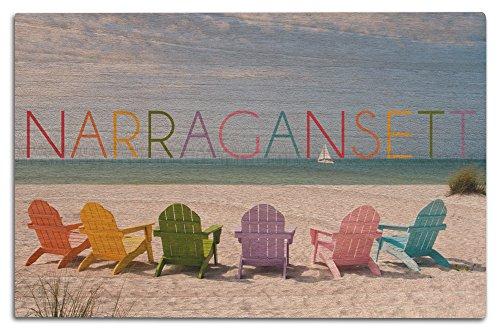 Lantern Press Narragansett, Rhode Island - Colorful Beach Chairs (12x18 Wood Wall Sign, Wall Decor Ready to Hang)