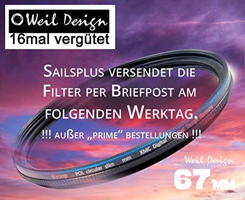 Polfilter POL 67mm Circular Slim XMC Digital Weil Design Germany * weildesign * Kräftigere Farben * Frontgewinde * 16 Fach XMC vergütet * inkl. Filterbox * zirkulare (67)