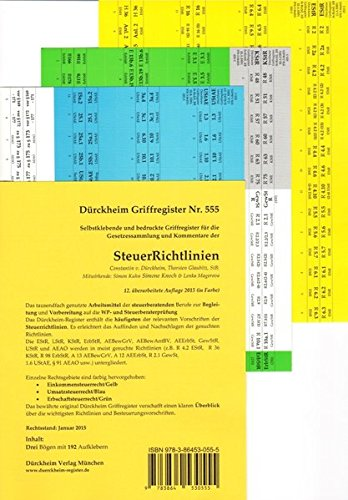 SteuerRichtlinien, Dürckheim-Register Nr 555 für SteuerRichtlinien (2015), 192 Selbstklebende und bedruckte Griffregister für SteuerRichtlinien in Farbe