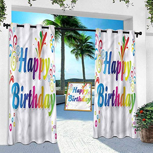 Aishare Store Patio Outdoor Curtain, Birthday,Birthday Message Artsy, 108 Inches Long Heavy Duty Indoor Panel for Porch Balcony Pergola Canopy Tent Gazebo Window(1 Panel)