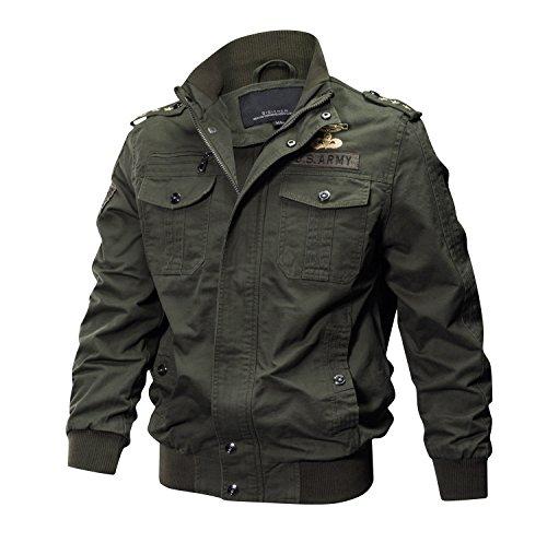 KEFITEVD Hombre Casual Primavera Chaquetas Vintage Moto Bordado Chaquetas Bomber Chaquetas Algodón Verde del Ejército