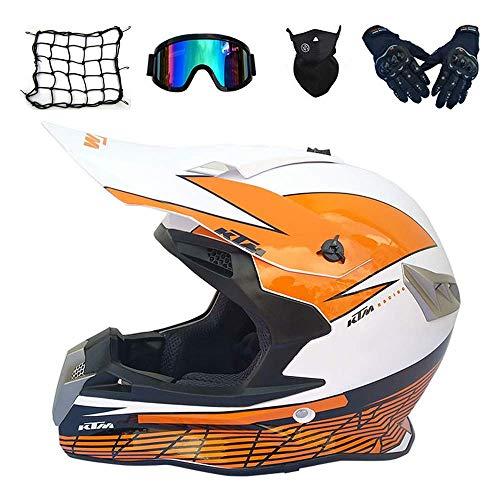 Casco de motocross para adulto, color naranja, casco integral de bicicleta de montaña con gafas y guantes máscara de red, Pro Moto Cross casco para todoterreno cuatriciclo, dljyy (color : B)