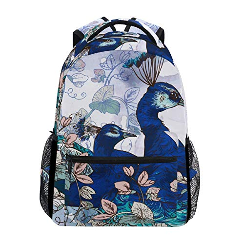 poiuytrew Watercolor Peacocks Backpack Students Shoulder Bags Travel Bag College School Backpacks