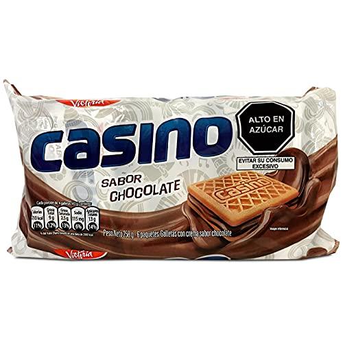 VICTORIA Casino Sabor Chocolate Cocinas de chocolate de 10,1 oz - Galletas con Crema Sabor a Chocolate - Galletas Tradicionales de Perú - 6 Paquetes de 43 Gramos - 258 Gramos Total