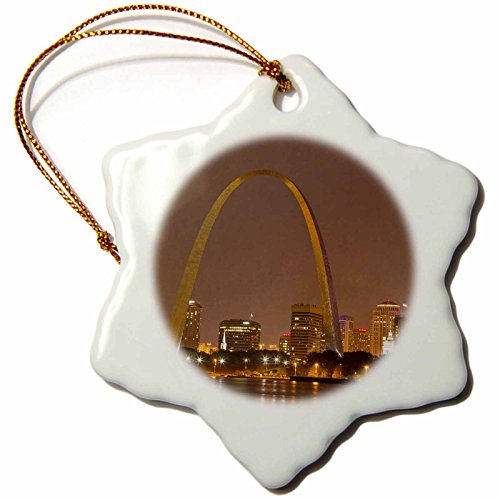 3dRose orn_91510_1 Gateway Arch, St Louis, Mississippi River, Missouri US26 CHA0012 Chuck Haney Snowflake Porcelain Ornament, 3-Inch