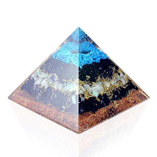 Orgone Pyramid Energy Generator Turquoise Black Tourmaline Pyramid for E-Energy Protection Detoxification Meditation Healing Chakra.