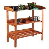 Relaxdays Table de préparation pour semis en bois avec plan de travail en métal 3...