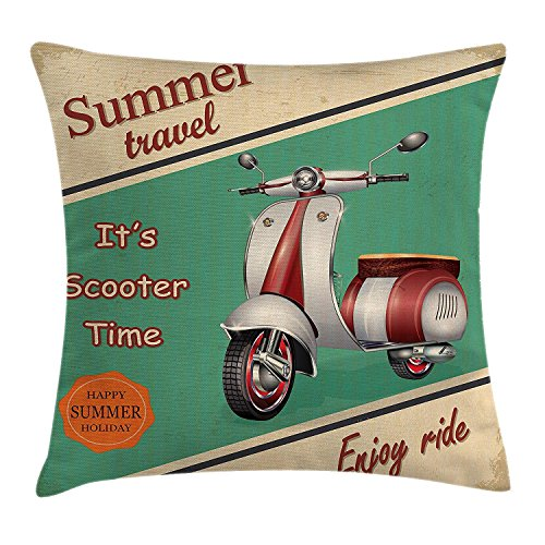 fjfjfdjk Scooter Motorbike Summer Travel Italian City Sight Hipster Enjoy Ride IllustrationVintage Throw Pillow Cushion Cover Decorative Square Accent Pillow Case 18 X 18 Inches Multicolor