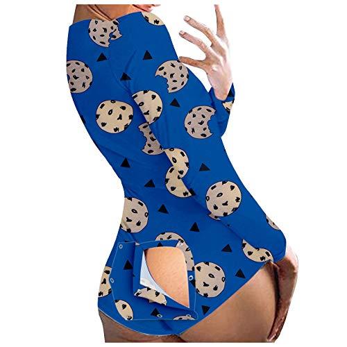 CUPPP Mono para Mujer,Jumpsuits Botón Abierto Estampado Pantalones de Mujer Pijama de Manga Larga Manga Larga con botón Pijamas de Servicio a Domicilio Lencería Mujer Sexy