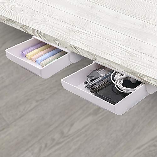 2 Pack Under Desk Drawer Organizer Desk Drawer Attachment,Desk Accessories & Workspace Organizers,Hidden Desktop Organizer Pen Holder for Desk Self-Adhesive,Creative Paste Stationary Container