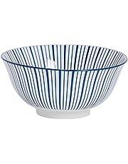 Cuenco de cereales de porcelana - Estampado de rayas azul y blanco - 153mm