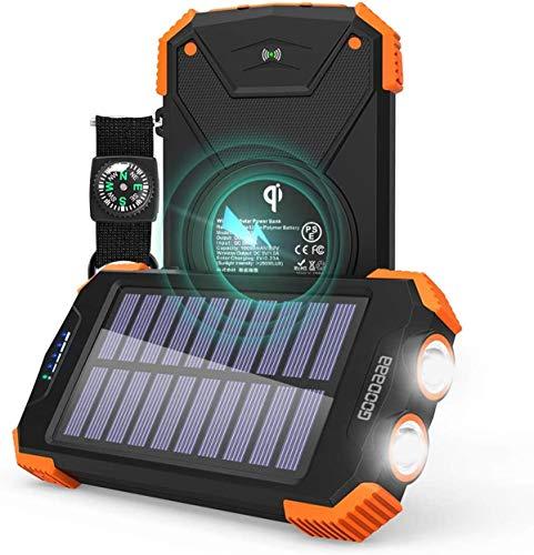 GOODaaa Solar Powerbank 10000mAh, QI Wireless Solar Ladegerät mit Typ C/USB Ports Schnelles Aufladen Tragbare Externer Akku mit Solar Panel,LED Lampe,Kompass Kompatibel für iPhone Samsung iPad-Orange