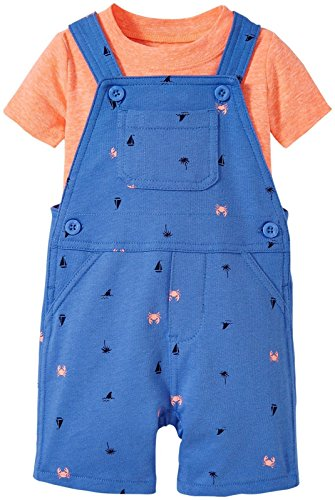 Carters's kurze Latzhose + T-Shirt Sommer Set Baby Junge Shorts Krebs blau Outfit boy (0-24 Monate) (3 Monate, blau/orange)