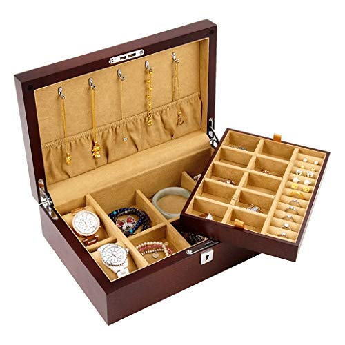 joyero Joyería de Madera Caja de Almacenamiento de Doble joyería del sostenedor del Reloj del Caso de Bloqueo de Almacenamiento de joyería Sencilla Organizador (Color : Walnut)