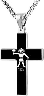 BlingDi Fashion Design Thor Mjolnir Hammer Norse Viking God Thunder Zinc Alloy Religious Cross Pendant Necklace