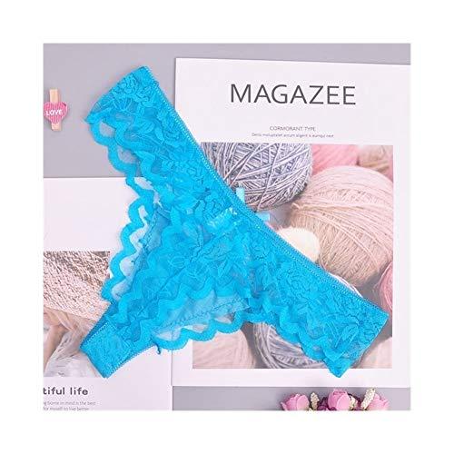 Linyuex Frauen Spitze bequem und atmungsaktiv Zapfen G-Schnur Unterwäsche-Schlüpfer Slips for Damen T-Back (Color : 87169qlan, Size : Large)