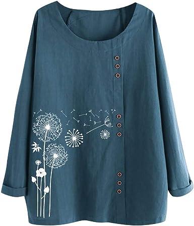 Vectry Camisa Mujer Tallas Grandes Mujer Manga Larga Algodón Lino O-Cuello Estampado Blusa Top Camiseta Camisa Otoño Verano Playa Y Fiesta