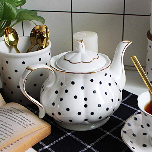JHSHENGSHI Tea Set Bone Porcelain Points Hand-Painted Golden Teapot Coffee Pot Simple Water Pot