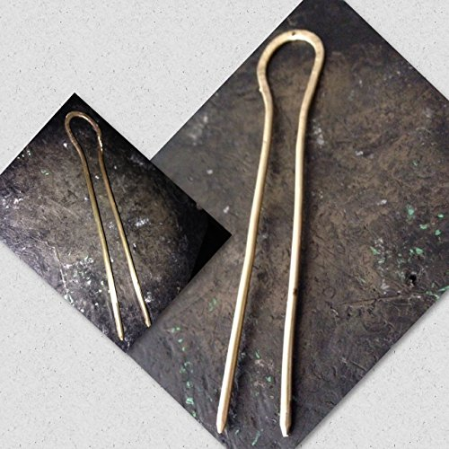 Horseshoe Brass Hair Pin - Bun Pin Topknot Holder - 4 and 5 Inch Gold Finish for Thin Fine to Thick Hair - by customjewelry on Amazon Handmade