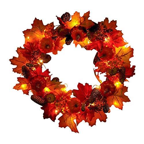45 cm / 60 cm Corona de Calabaza y Hoja de Arce con Bayas Luz LED Puerta de Entrada Corona de Navidad Corona de Cosecha para el Día de Acción de Gracias Decoraciones de Halloween