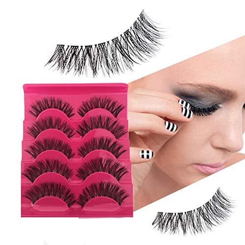 AKDSteel Beauty Tools 5 Pairs of False Eyelashes 3D Mink Hair Natural Long Thick Handmade Soft False Eyelashes Set Makeup Cosmetics Facial Beauty Parts