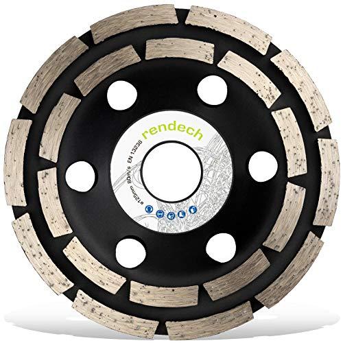 Rendech® Diamantschleiftopf 125 mm - Universal Schleifscheibe für Fliesenkleber, Beton, Putz, Stein uvm. Diamant Schleiftopf in Profi Qualität