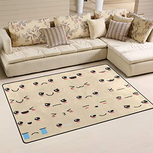 iRoad - Alfombra para sala de estar, diseño de emoticonos de cara de dibujos animados y duraderas, para habitación de niños, dormitorio, alfombras modernas, 78 x 50 cm, multicolor, 60x39 in