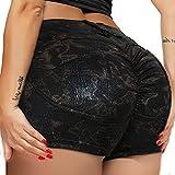RIOJOY Women Black Faux Leather Shorts Casual Snakeskin Print High Waist Stretch Slim Hips Motorcycle Skinny Coated Disco Hot Stretchy Nightclub Shorts Snakeskin-Black Medium