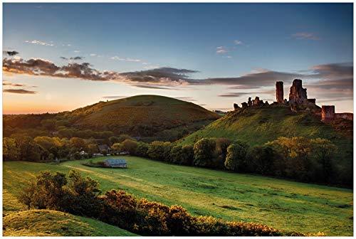 Wallario Glasbild Schlosspanorama in England bei Sonnenaufgang - 60 x 90 cm in Premium-Qualität: Brillante Farben, freischwebende Optik