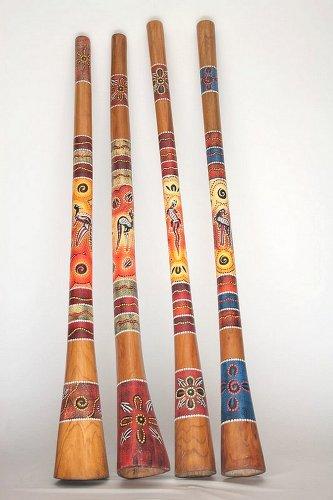 Holz Didgeridoo Jackfruit Baum - Länge 130cm - Punkt- und Tierbemlaung - inkl. Lern-CD Didgman 1