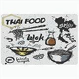 Taroot AA Alfombra de baño Alfombrillas Set de Chile Shiitake Platos asiáticos Cocina tailandesa Comida Fideos Viaje Bebida Jengibre Objetos Pimiento Curry Felpudo Estera de Respaldo - 40X60Cm